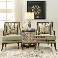 定制\n            实木布艺沙发椅 单人 美式 休