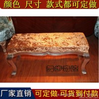 欧式床尾凳新古典实木现代卧室床边长凳布艺沙发换鞋凳美式脚踏凳