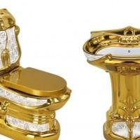东尼斯-8809 彩花金色坐便器 马桶 镀金 彩金座便器 金马桶