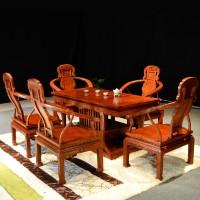 和谐FHYF-150  非洲花梨木**紫檀茶台茶桌6件套 东阳红木家具 红木实木板式家具 古典中式家具